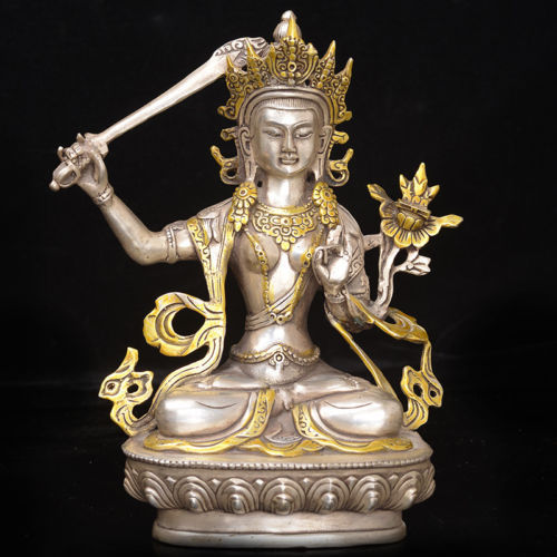 Vintage Tibet copper Gilt Tibetan Buddhism Statue ---- Manjushri