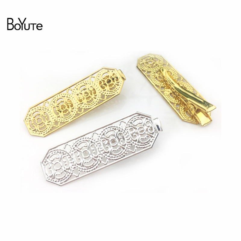 BoYuTe 20Pcs Metal Silver/Gold Plated Hair Clip 25MM Length Mini Girl Hair Clips Filigree Jewelry Accessories