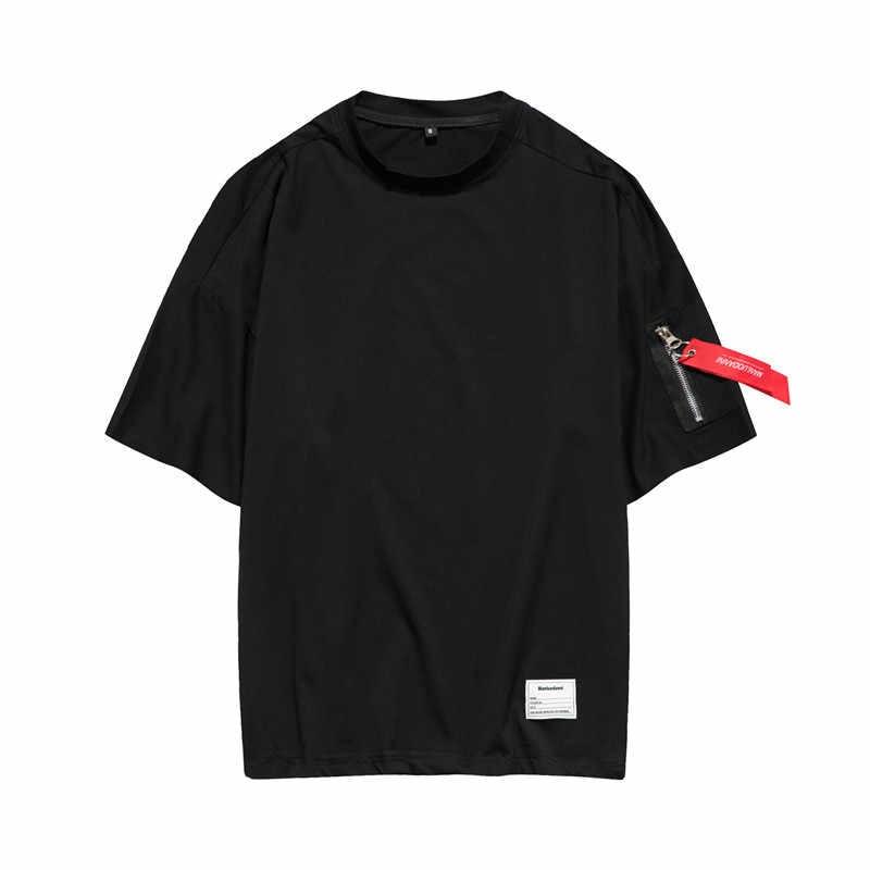 Mannelijke t-shirt Half Mouw 2019 Lente Zomer Nieuwe Losse Oversize Straat Pure Kleur Verlengen Hiphop T-shirt Man ONS size T shirts Mannen