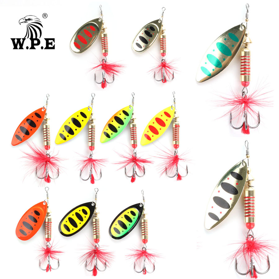 W.P.E Brand Spinner Lure 1pcs 6.5g/10g/13.5g 11color With Treble Hook Metal Spoon Lure Hard Fishing Lure Fishing Tackle Bait