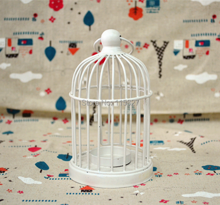 Free Shipping!Classic White Color Iron Candle Holder Weddings lantern Metal Candle Holder Birdcage Shape Candle holder