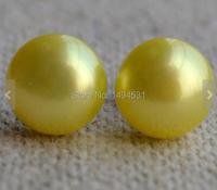 Joyería de Perlas de la boda, AAA10-11mm Amarillo Aretes de Perlas de Agua Dulce Naturales, 925 Pendiente de Plata, Precio al por mayor