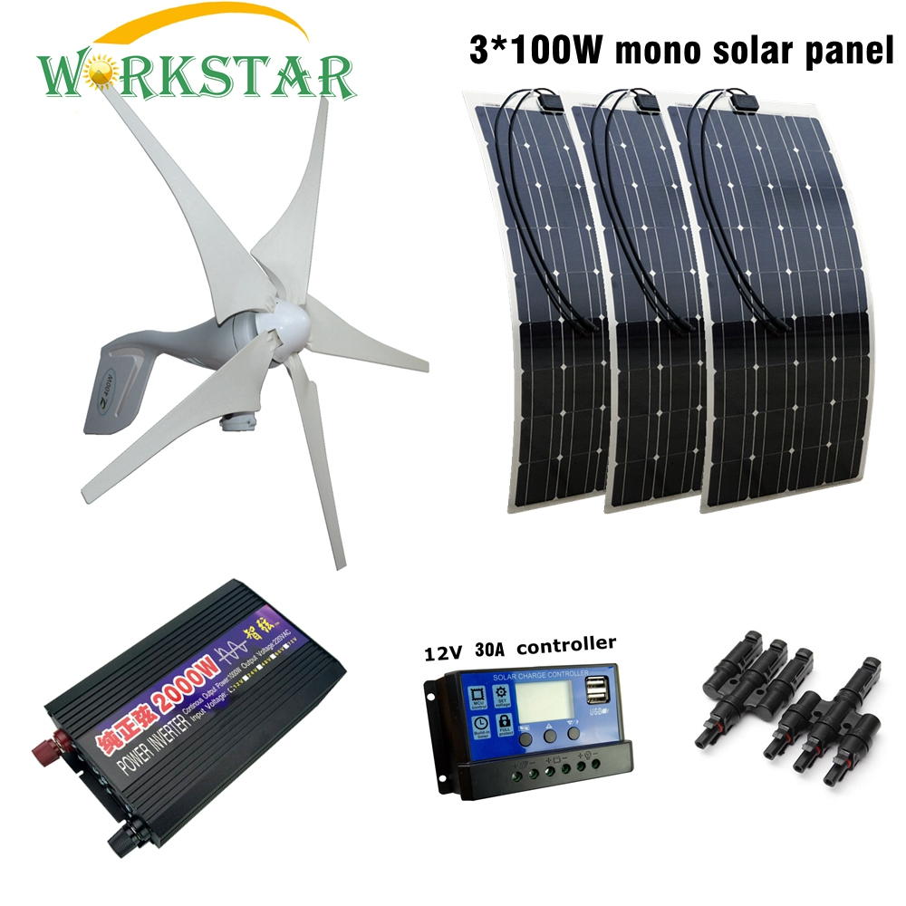 400W Wind Generator 3pcs 100W Flexible Solar Module with 30A Controller and 2000W Pure Sine Inverter 700W Solar Wind Solar Power 400w wind generator new brand wind turbine come with wind controller 600w off grid pure sine wave inverter