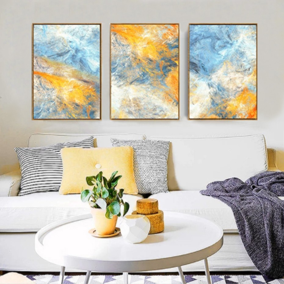 Modern Abstract Watercolor Blue Yellow