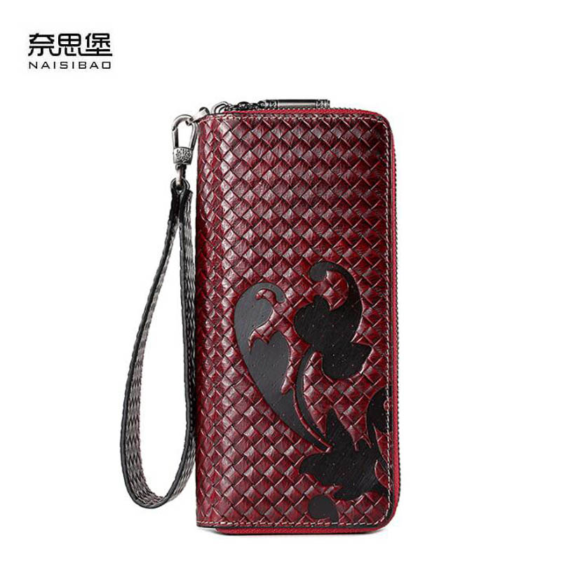 NAISIBAO 2019 New Genuine Leather wallet Cowhide Embossing women leather bag Fashion Double zipper real leather women walletsNAISIBAO 2019 New Genuine Leather wallet Cowhide Embossing women leather bag Fashion Double zipper real leather women wallets