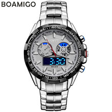 BOAMIGO marca hombres relojes deportivos militar de doble pantalla LED relojes de cuarzo analógico-digital relojes de pulsera de acero inoxidable a prueba de agua