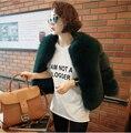 Párrafo Corto Abrigo de Piel De Zorro Abrigo de Piel Verde de la mujer de Estilo Coreano Privado Personalizado