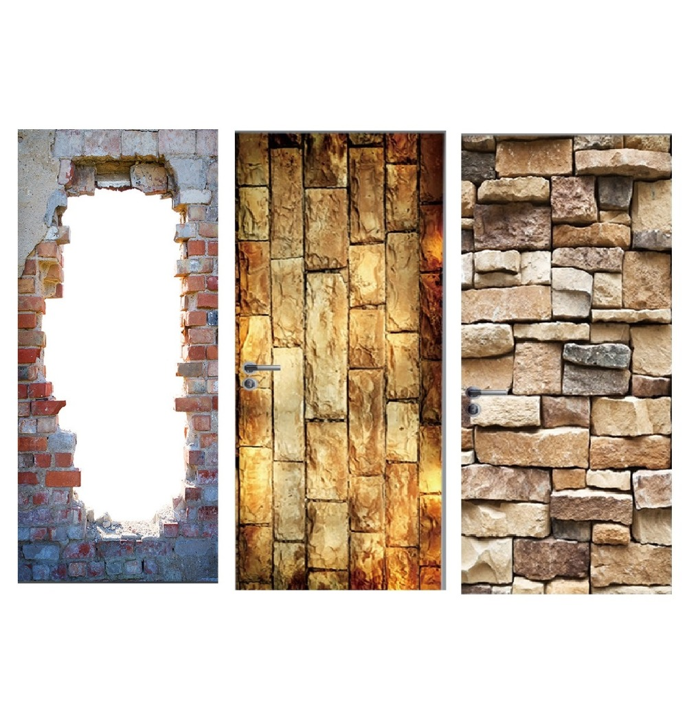 Vintage Bricks Wall Effect Broken Wall Retro Door Murals Wall Mural Door Decals Wall Door Stickers Wallpaper Mural Heart Printed-in Wall Stickers from Home & Garden