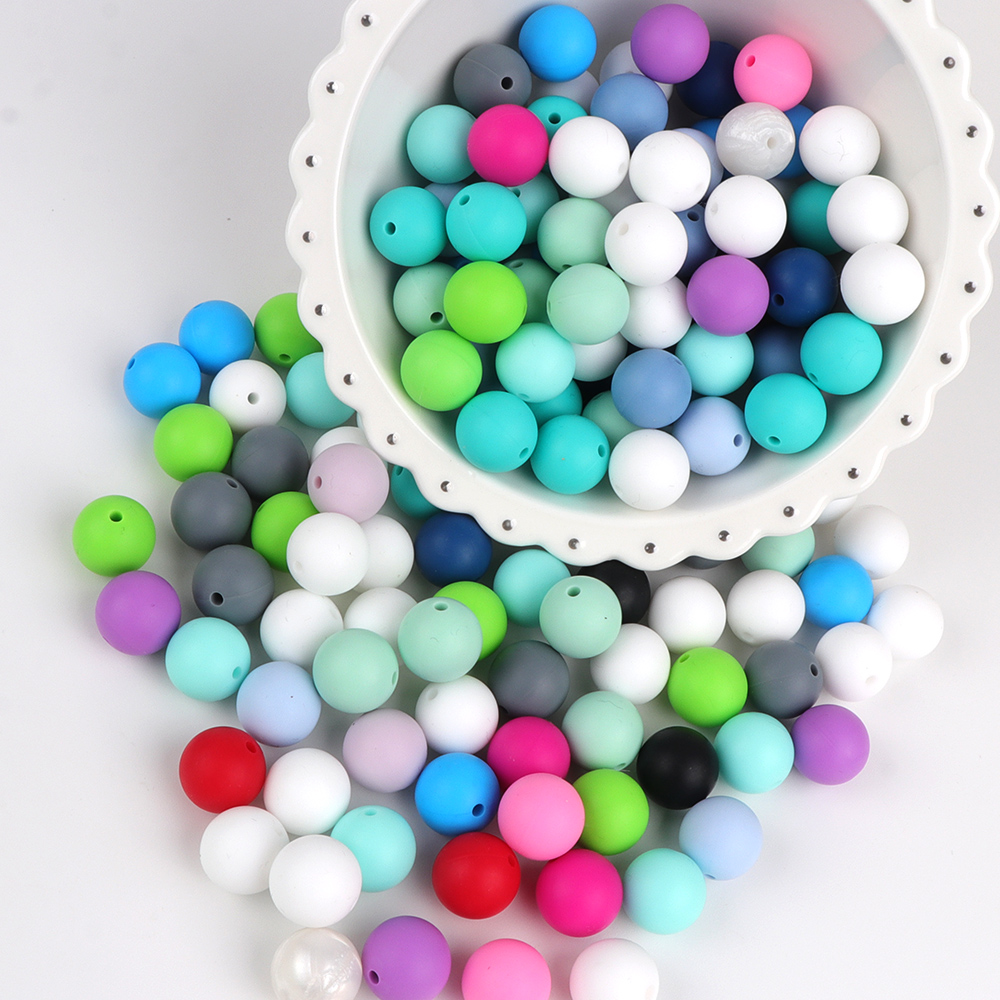 TTYRY HU 1000pc Round Silicone Beads 12 15mm Food Grade Baby Chewable Teething Beads For DIY
