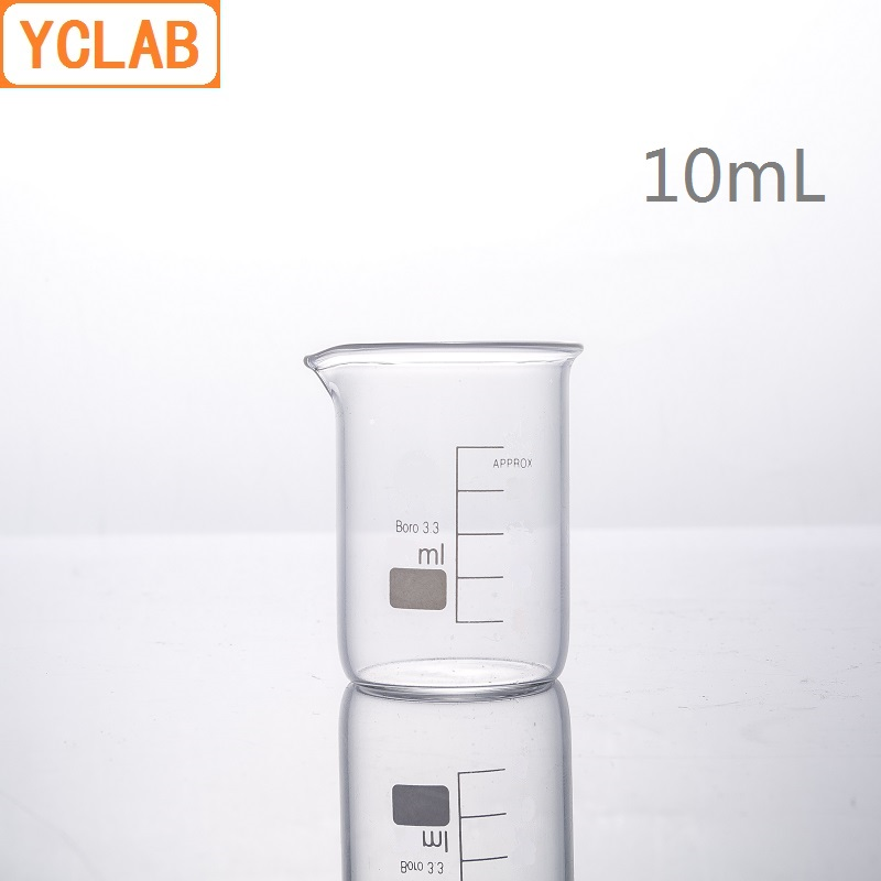 YCLAB 10mL Glass Beaker Low Form Borosilicate 3.3 Glass With Graduation And Spout Measuring Cup Laboratory Chemistry Equipment