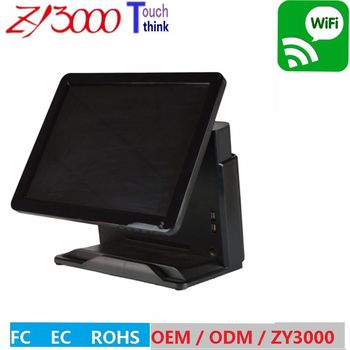 black Q81037u 4G 64G SSD capacitive touch screen pos system all in one  Touchscreen POS Terminal with MSR card reader