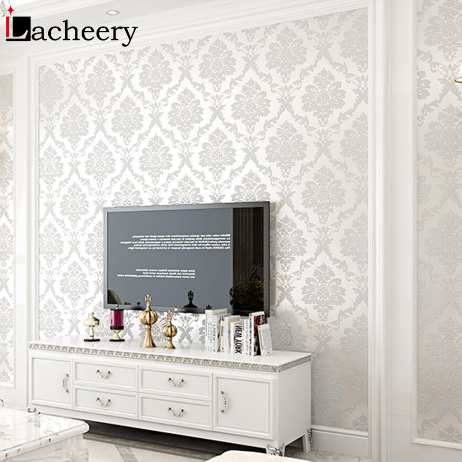 PVC Waterproof Damask Mural Wallpaper for Luxury Living Room Bedroom Wall Decor Flower Pattern Vinyl Self Adhesive Contact Paper in Wallpapers from Home Improvement