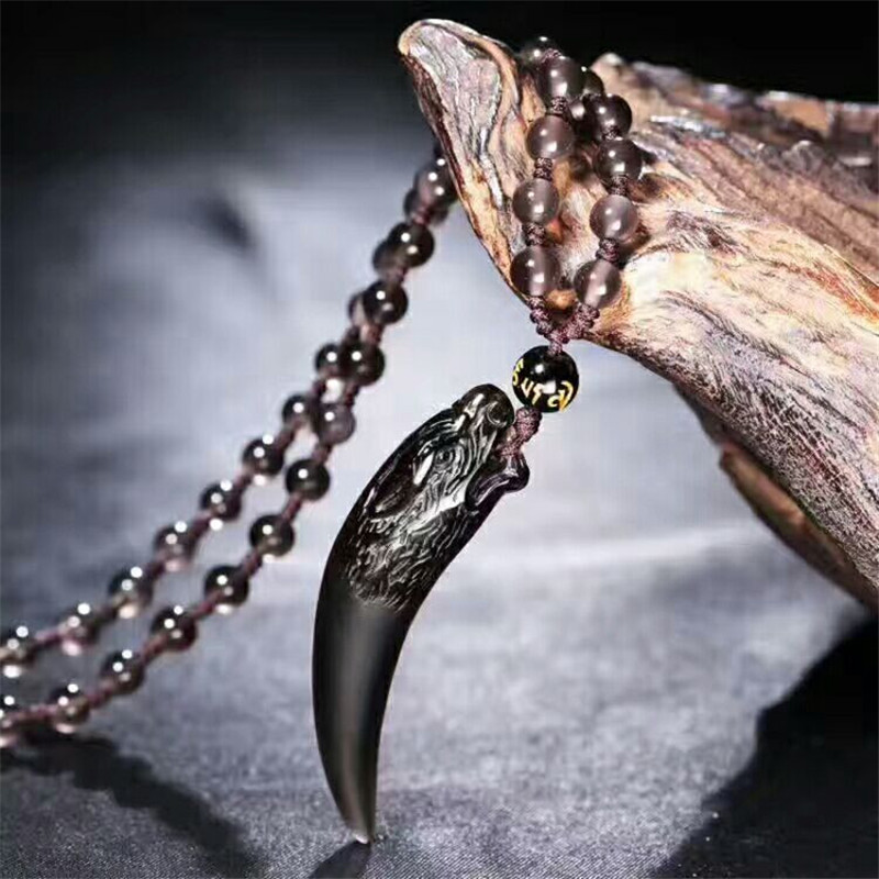 2017 Natural Ice Black Obsidian Stone Pendant Spike Wolf s Fang Women Men s Amulet Lucky
