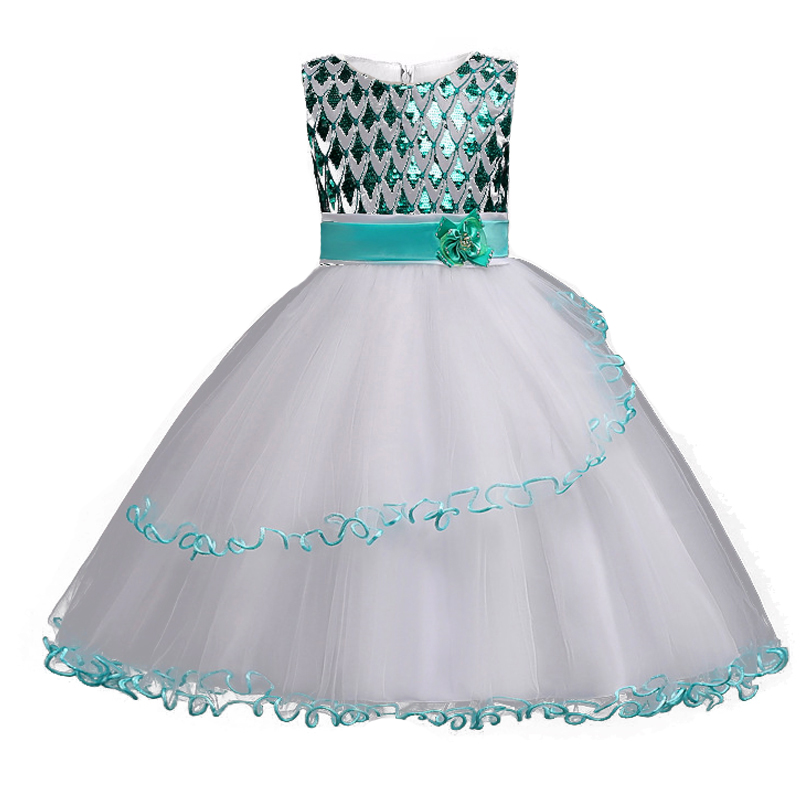 2018 New Summer Elegant Kids Baby Flower Wedding  Girls Dresses Teenagers Clothing Sequin Princess Party Dress Children Clothes new year flowers flower dresses for wedding party baby girls christmas party princess clothing children summer dresses
