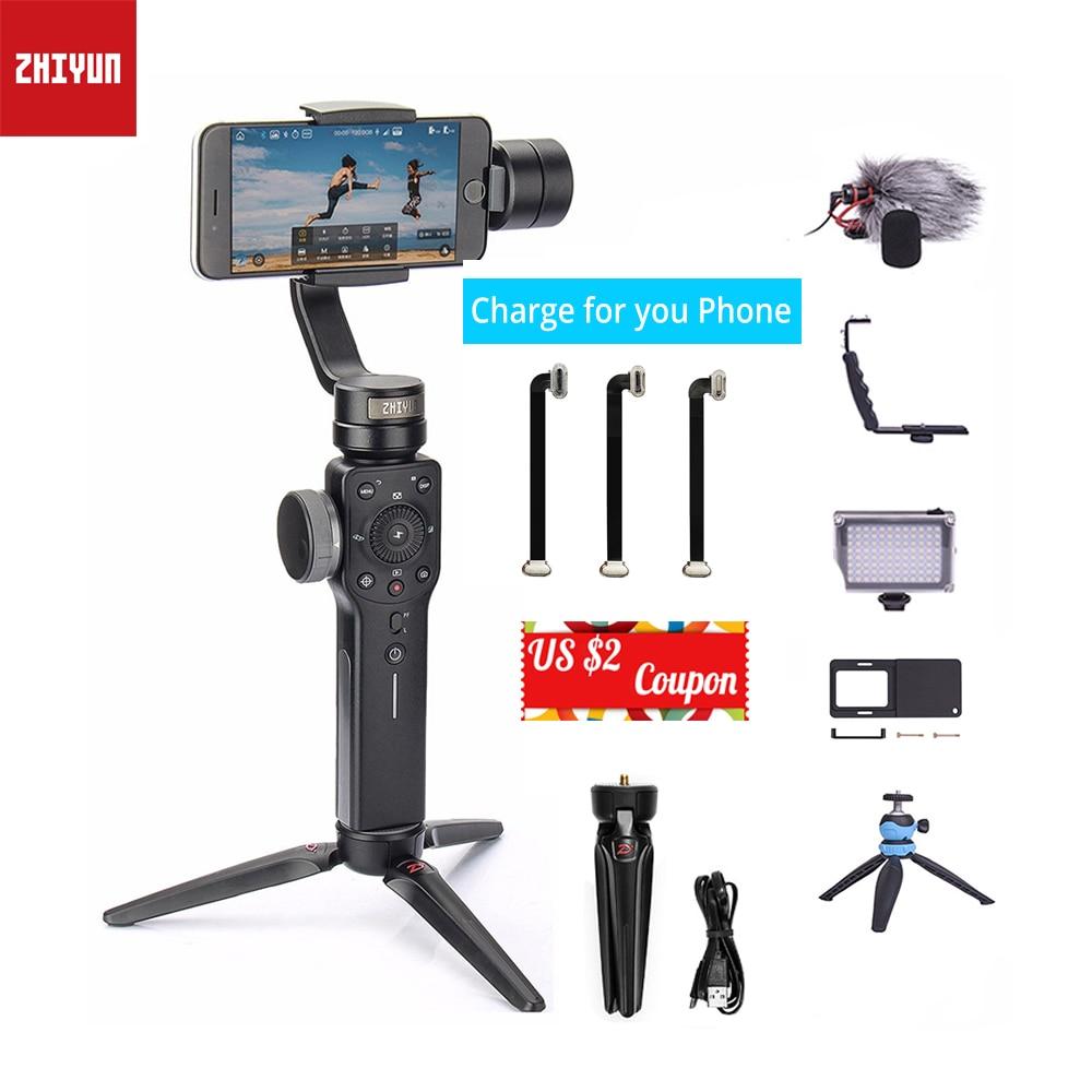 En stock zhiyun zhi yun lisse 4 de poche 3 axe smartphone cardan stabilisateur pour Iphone Sumsang d'action caméra Gopro PK lisse Q