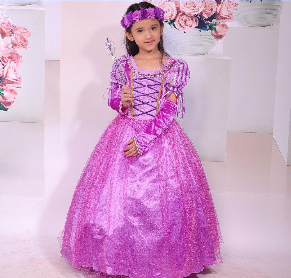 Rapunzel Enredados Princesa girl dress Kids Party Girls Vestido de Halloween Nav