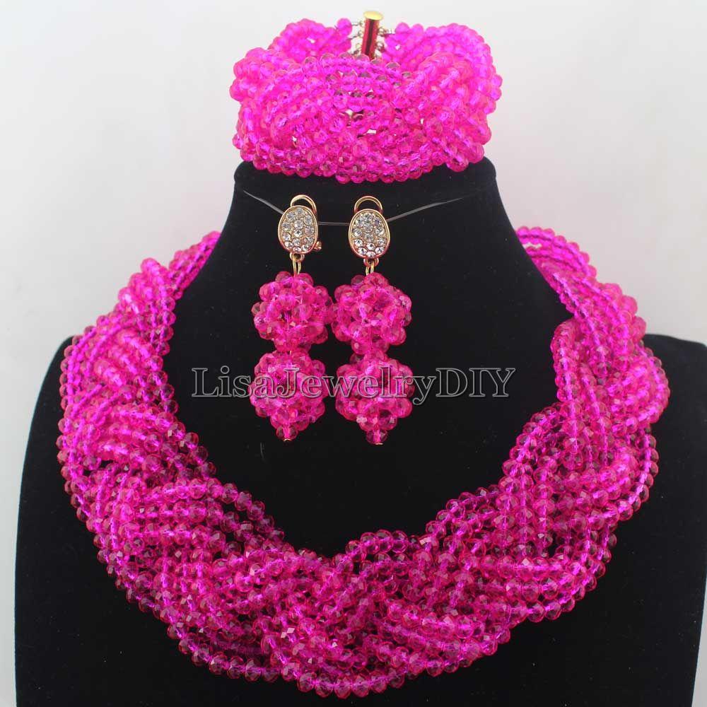 2019 Fashion Hot Pink Women Costume Nigerian African Beads Jewelry Set Crystal Free Shipping HD7674