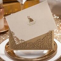 100 יחידות זהב כלה וחתן כרטיס הזמנות לחתונה לחתוך לייזר אישית אספקת מסיבת חתונה מותאם אישית עם מעטפה וחותם