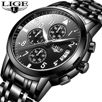 LIGE Top Brand Luxury Mens Watches Quartz Business Watch Men Casual Full Steel Waterproof Sport Watch