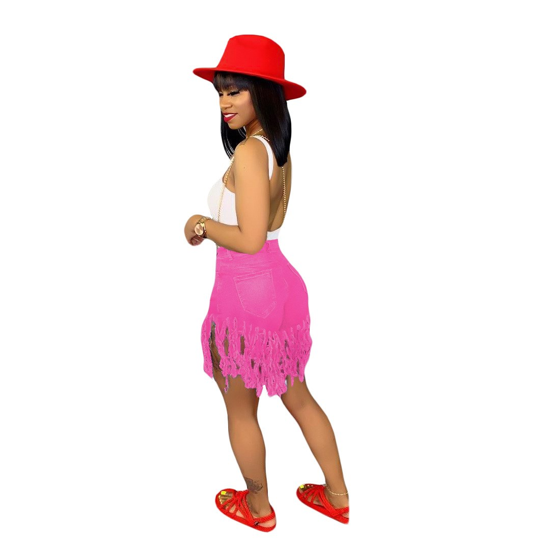 2019 Plus Size Tassel Casual Denim Shorts Women Elastic High Waist Short Jeans Summer Streetwear Neon Yellow Biker Shorts in Shorts from Women 39 s Clothing