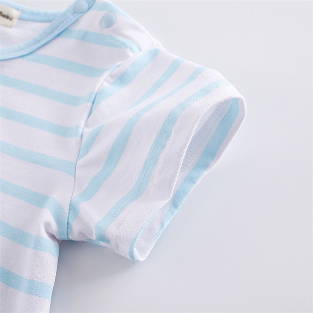New Baby Rompers Hot Summer New Baby Boys Clothes Cartoon Whale Casual Stripe Short-sleeved Jumpsuit Toddlor Infant Clothing 4