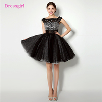 Black 2018 Homecoming Dresses A Line Cap Sleeves Short Mini Tulle Lace Crystals Elegant Cocktail Dresses