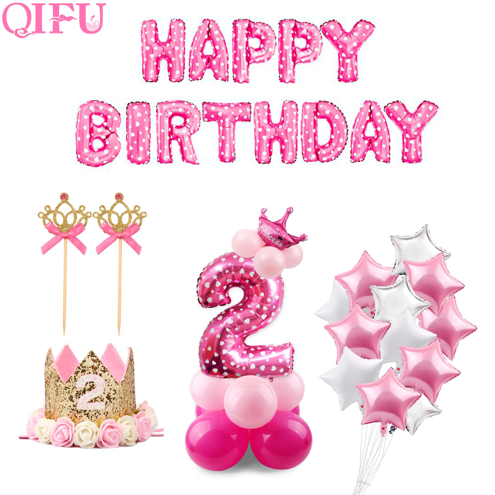QIFU 2 Birthday Years Pink Blue Latex Balloons Boy Girl 2nd Party Decorations