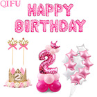 QIFU 10pc 12inch 2 Year Birthday Pink Blue Latex Balloons Boy Girl I AM TWO Happy 2nd Birthday Party Decorations Kids Babyshower