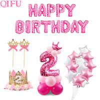 QIFU 2 cumpleaños 2 años cumpleaños globos de látex rosa azul niño niña 2 ° decoraciones para fiesta de cumpleaños niños Babyshower dos