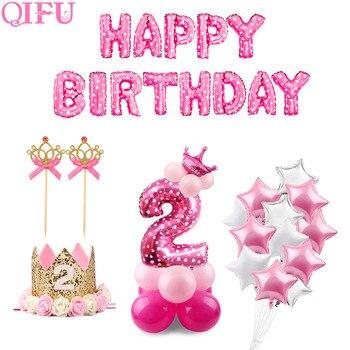 QIFU 2 cumpleaños 2 años cumpleaños rosa azul látex globos niño niña 2nd decoraciones para fiesta de cumpleaños los niños Rosa globo dos