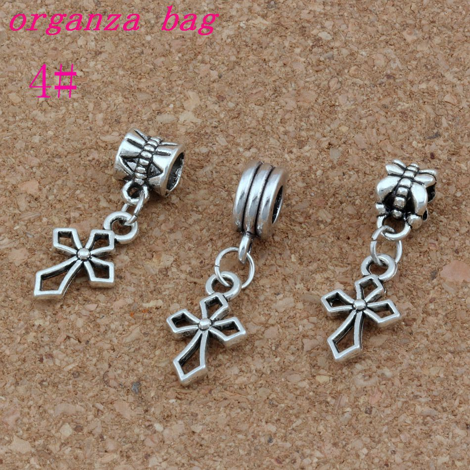 Dangling Cross Bracelet: 100pcs/lot Hlollow Cross Charm Antique Silver Christian