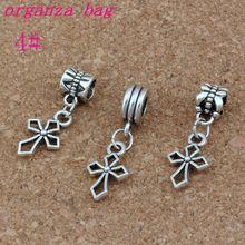 100pcs/lot Hlollow Cross Charm Antique Silver Christian Charm Keep Faith Dangle Fit European Charm Bracelet Jewelry 10x29mm stylish cross velvet charm bracelet