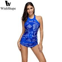 Sexy Swimwear Push Up Women Tankini Tops With Shorts Bathing Suit Swimsuit Blue Vintage Print Swimwear Beach Wear Plus Size XXL