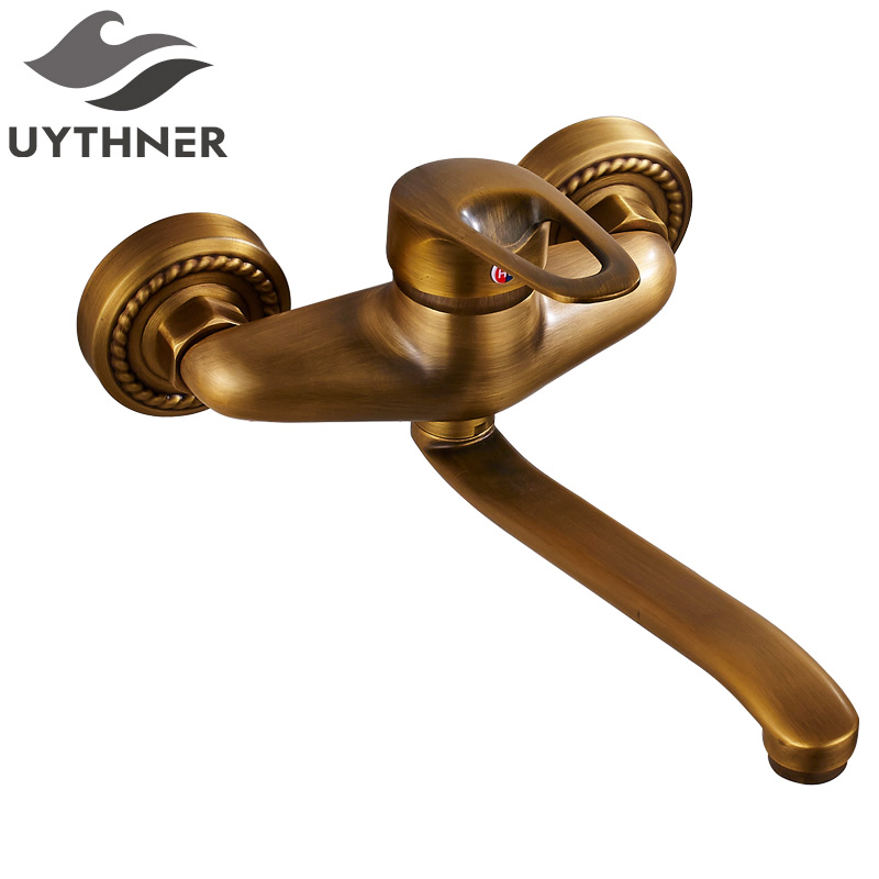 Uythner New Style Free Shipping Antique Brass Bathroom Basin Faucet w/ Long Spour Mixer Tap Dual Handle Wall Mounted brand new free shipping antique brass tap antique kitchen faucet