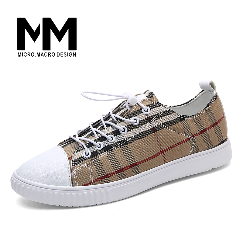 MICRO. MACRO Men Casual Shoe 2017 Spring New Design Linghtweight Breathable Comfortable Fashion flat shoe  men shoe Gingham 6918 micro micro 2017 men casual shoes comfortable spring fashion breathable white shoes swallow pattern microfiber shoe yj a081