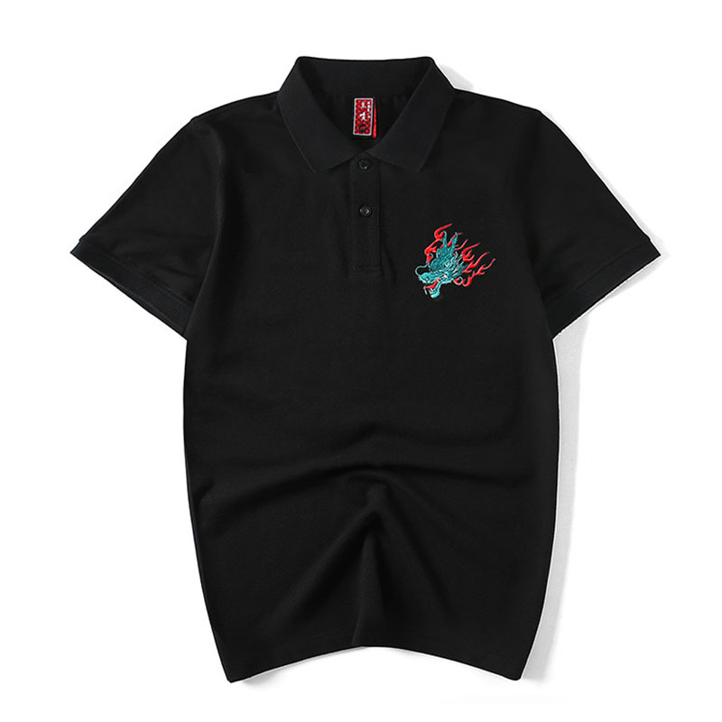 Headbook Harajuku Embroidery Dragon And Tiger Streetwear   POLO   Shirts Hip Hop Summer Men Casual Cotton Tops Fashion   POLO   Shirts