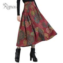 c2f99fa9f2 Romacci Ethnic Women Long Skirt Contrast Floral Print High Waist Plus Size Skirts  Zipper A-Line Pleated Casual Tribal Party Wear