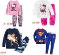 Al por menor nuevos niños de manga larga de dibujos animados Hello Kitty pijamas del bebé t-shirt + pants chicos ropa de dormir Kids pijama ropa