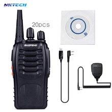 20PCS Baofeng BF-888 walkie talkie Two Way cb Radio Handheld HF Transceiver Interphone+1PCS MIC+1PCS Cable