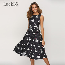 Swan Printed Retro A-line Dress for Female 2019 Classic Sleeveless Black Party Vestidos Slim Chic Summer Womens Clothing