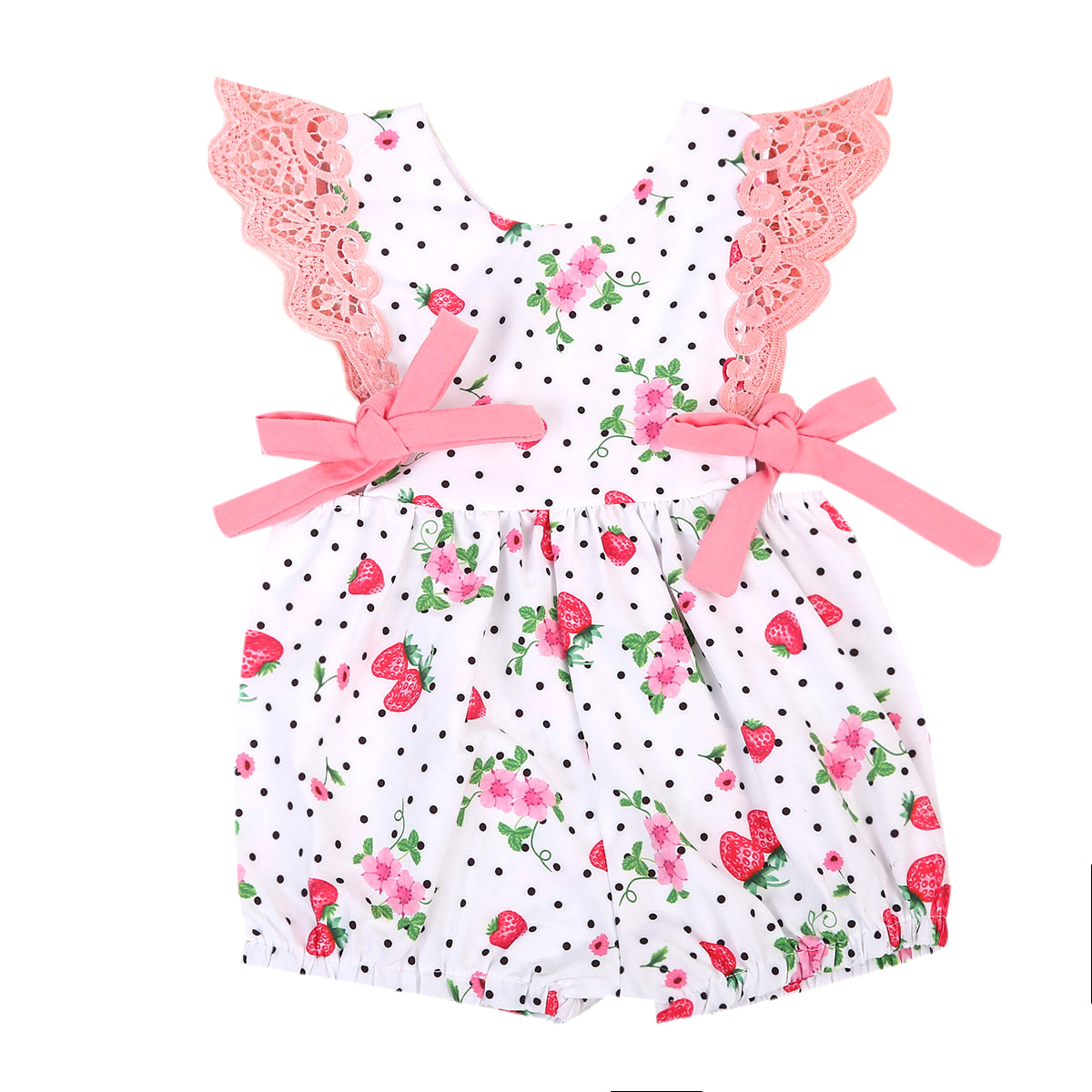 Strawberry Babies Cute Little Flowers Rompers Newborn Baby Girls Summer Romper Playsuit Clothes Sunsuit Floral Clothing 0-24M