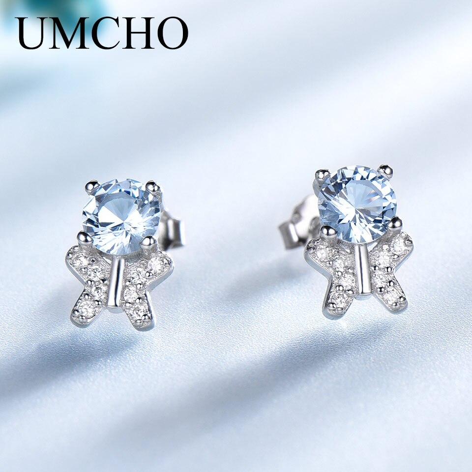 UMCHO Solid 925 Sterling Silver Stud Earrings For Women Blue Gemstone Wedding Butterfly Korea Earrings Fine Jewelry 2018 New
