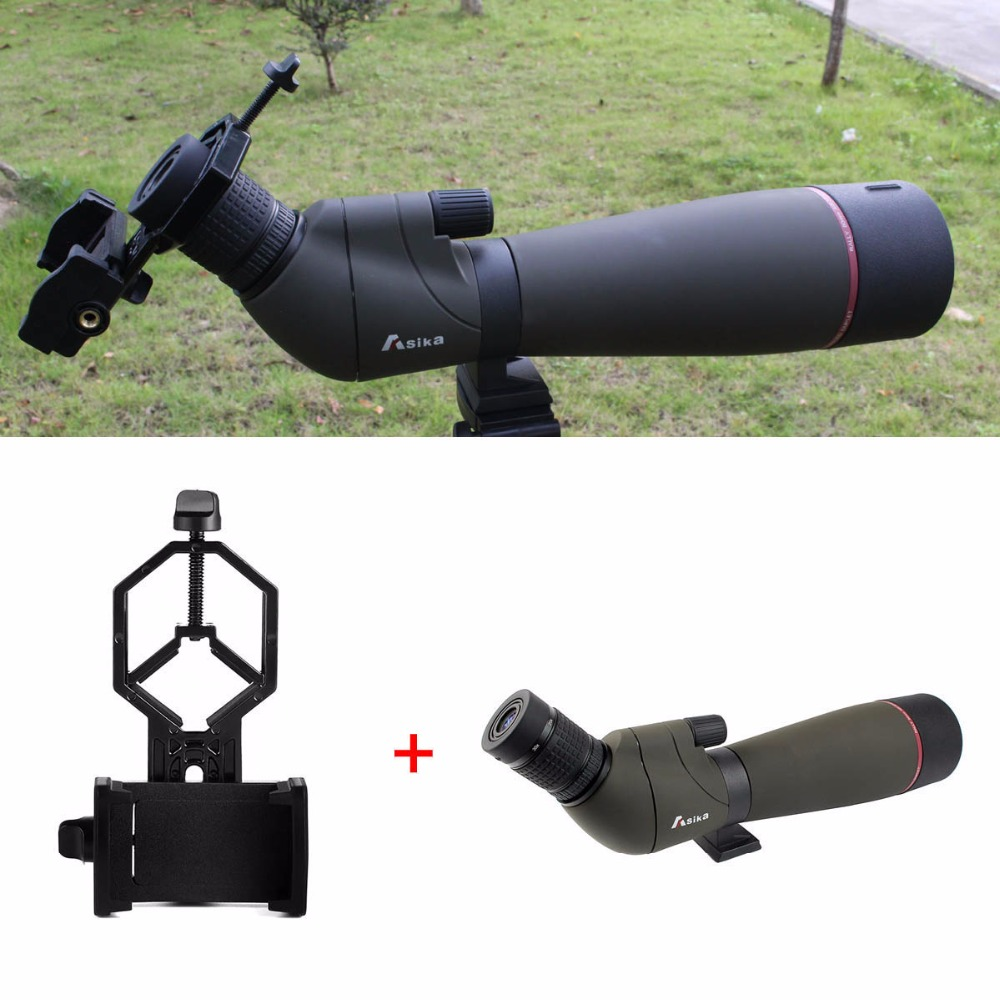 Asika 20-60x80 Spotting Scope Zoom FMC Waterproof Angled Telescope & Cell Phone Adapter Universal New W2783 24 49mm full metal universal phone mount adapter binoculars spotting scope astronomical telescope connecting with cell phone