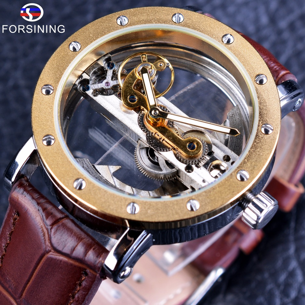 Forsining 2017 Luxury Design Transparent Case Brun Läder Rem Mens Watches Topp Märke Luxury Automatic Skeleton Armbandsur