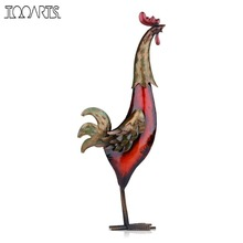 Tooarts Iron Rooster Metal Figurine Home Decoration Accessories Asia Art Multicolored Furnishing Crafts Gift For Home