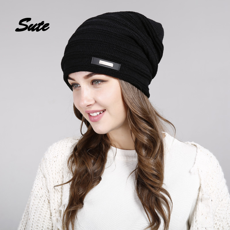 SUTE Winter Beanie Hat Ladies Knit Hats men for Women Caps Knitted Cap gorros With Ear Flaps female cap Outdoor Ski Sports Warm