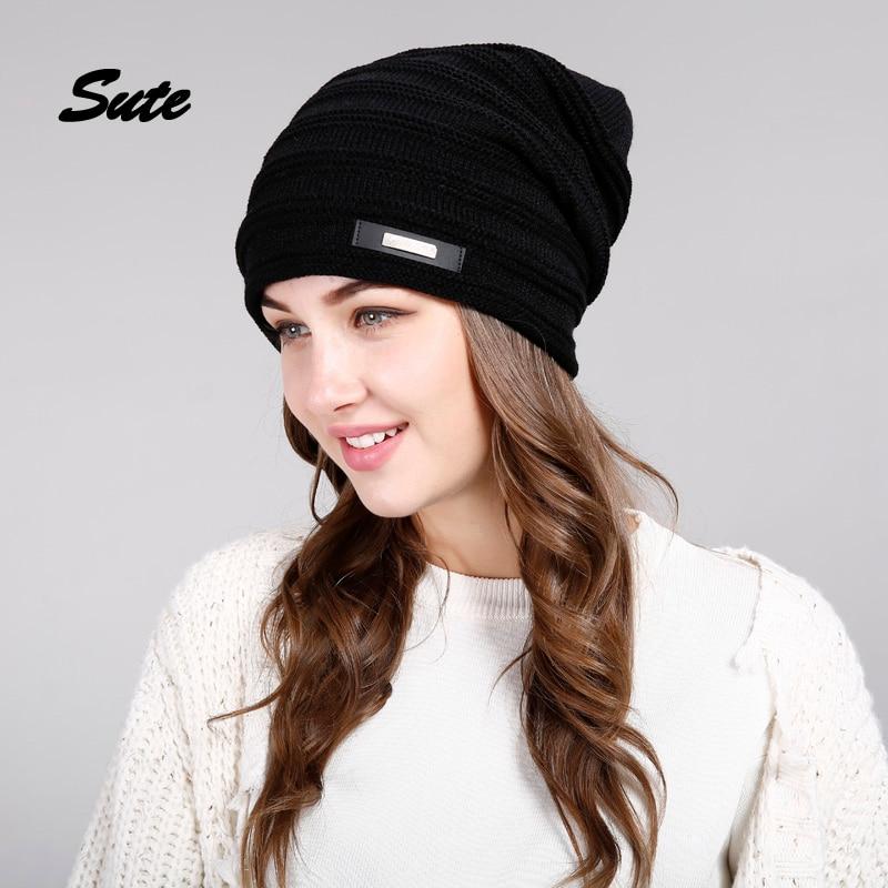 SUTE Winter Beanie Hat Ladies Knit Hats men for Women Caps Knitted Cap gorros With Ear Flaps female cap Outdoor Ski Sports Warm hot winter beanie knit crochet ski hat plicate baggy oversized slouch unisex cap