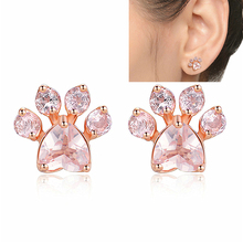 new Shiny Pink Stud Earrings women Female Jewelry Dog cat foot Earring  Piercing Rose Gold Small Animal for Women