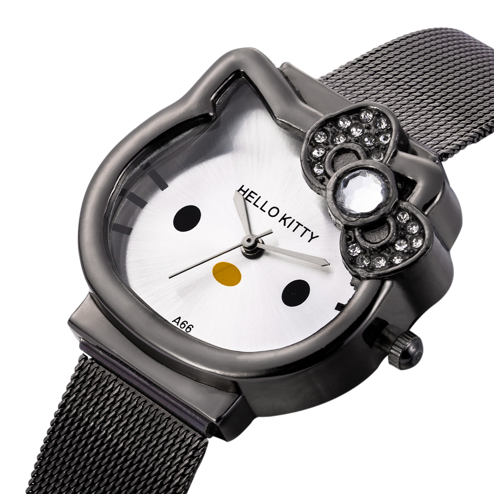 Rhinestone Children Bracelet Clock Cute Cartoon Animal Dial Girls Watch Stainless Steel Classic Student Montre Relogio Infantil
