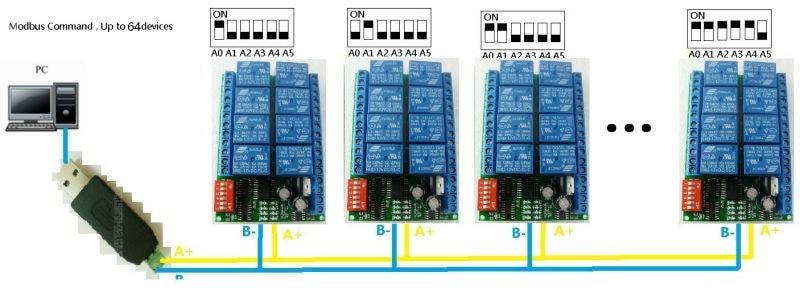 2020 8 Channel Dc 12v Rs485 Relay Module Modbus Rtu 485 Remote Control Switch For Plc Ptz Camera